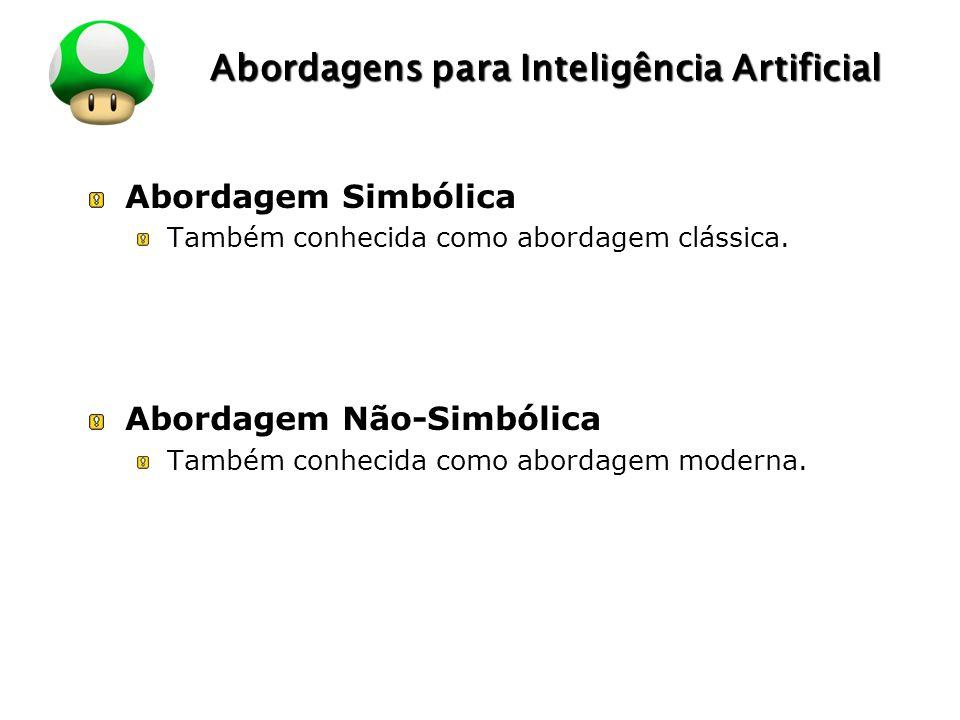 LOGO Abordagens para Inteligência Artificial Abordagem Simbólica Também conhecida como abordagem clássica. Abordagem Não-Simbólica Também conhecida co