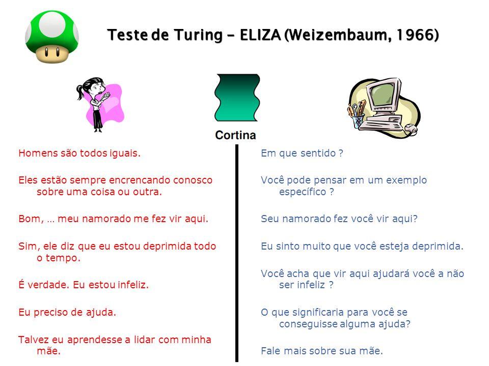 LOGO Teste de Turing - ELIZA (Weizembaum, 1966) Conhecimento Superficial - Exemplo de regra usado em ELIZA: SE paciente diz Eu gosto X, ENTÃO responda Por quê você gosta X.