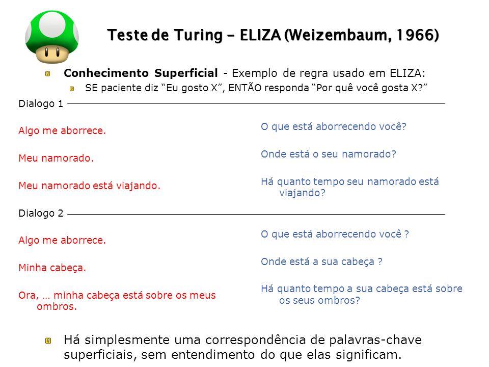 LOGO Teste de Turing - ELIZA (Weizembaum, 1966) Conhecimento Superficial - Exemplo de regra usado em ELIZA: SE paciente diz Eu gosto X, ENTÃO responda