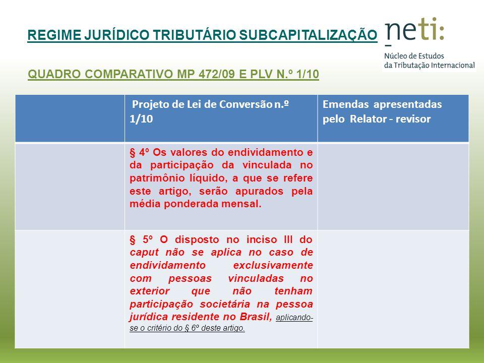 REGIME JURÍDICO TRIBUTÁRIO SUBCAPITALIZAÇÃO QUADRO COMPARATIVO MP 472/09 E PLV N.º 1/10 Projeto de Lei de Conversão n.º 1/10 Emendas apresentadas pelo