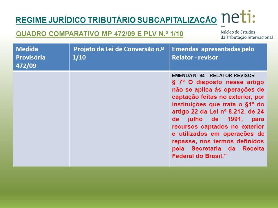 REGIME JURÍDICO TRIBUTÁRIO SUBCAPITALIZAÇÃO QUADRO COMPARATIVO MP 472/09 E PLV N.º 1/10 Medida Provisória 472/09 Projeto de Lei de Conversão n.º 1/10