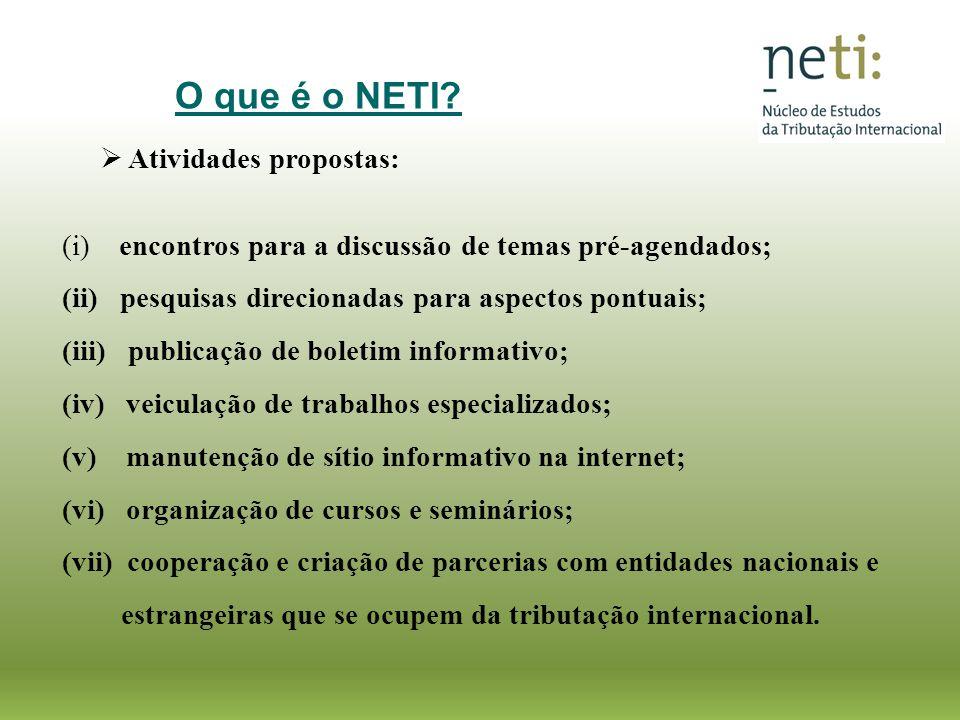 Atividades propostas: (i) encontros para a discussão de temas pré-agendados; (ii) pesquisas direcionadas para aspectos pontuais; (iii) publicação de b