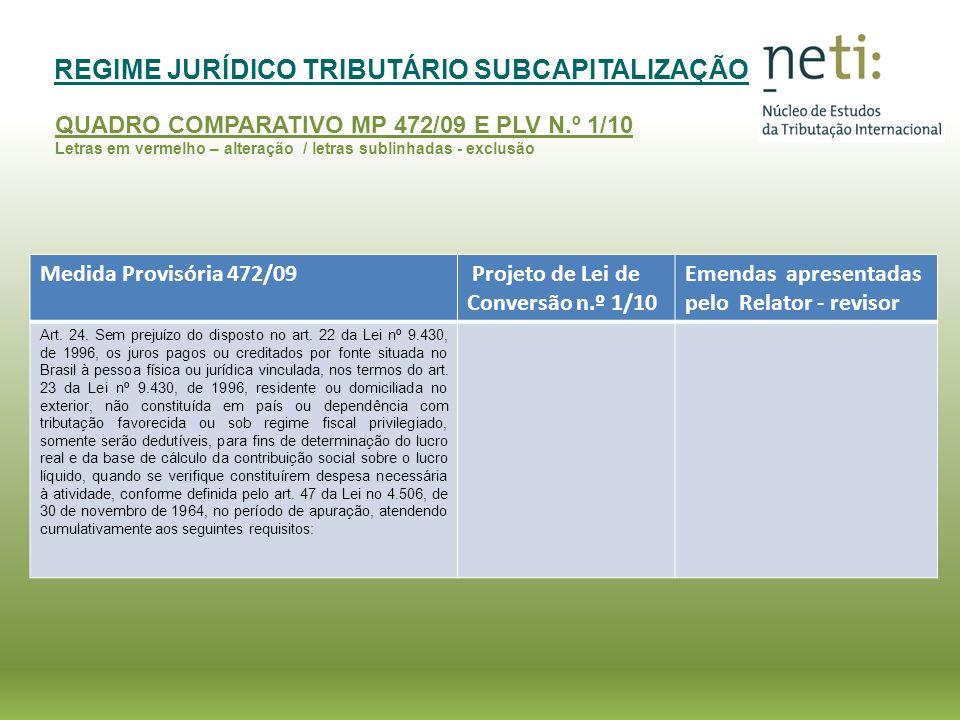 REGIME JURÍDICO TRIBUTÁRIO SUBCAPITALIZAÇÃO QUADRO COMPARATIVO MP 472/09 E PLV N.º 1/10 Medida Provisória 472/09 Projeto de Lei de Conversão n.º 1/10 Emendas apresentadas pelo Relator - revisor I - o valor do endividamento, verificado na data da apropriação dos juros, não seja superior a duas vezes o valor da participação da vinculada no patrimônio líquido da pessoa jurídica residente no Brasil; e I – no caso de endividamento com pessoa jurídica vinculada no exterior que tenha participação societária na pessoa jurídica residente no Brasil, de que o valor do endividamento com a pessoa vinculada no exterior, verificado por ocasião da apropriação dos juros, não seja superior a 2 (duas) vezes o valor da participação da vinculada no patrimônio líquido da pessoa jurídica residente no Brasil; EMENDA Nº 94 – RELATOR- REVISOR I – no caso de endividamento com pessoa jurídica vinculada no exterior que tenha participação societária na pessoa jurídica residente no Brasil, o valor do endividamento junto à pessoa vinculada no exterior, verificado quando da apropriação dos juros, não seja superior a duas vezes o valor da participação da vinculada no patrimônio líquido da pessoa jurídica residente no Brasil;