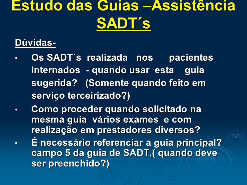 Estudo das Guias –Assistência SADT´s Dúvidas- Os SADT´s realizada nos pacientes internados - quando usar esta guia sugerida.