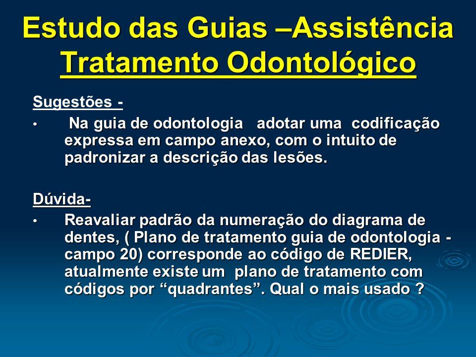 Sugestões - Na guia de odontologia adotar uma codificação expressa em campo anexo, com o intuito de padronizar a descrição das lesões.