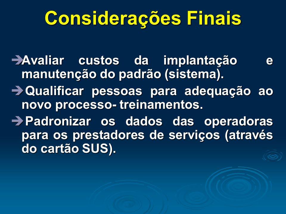 Considerações Finais Avaliar custos da implantação e manutenção do padrão (sistema).