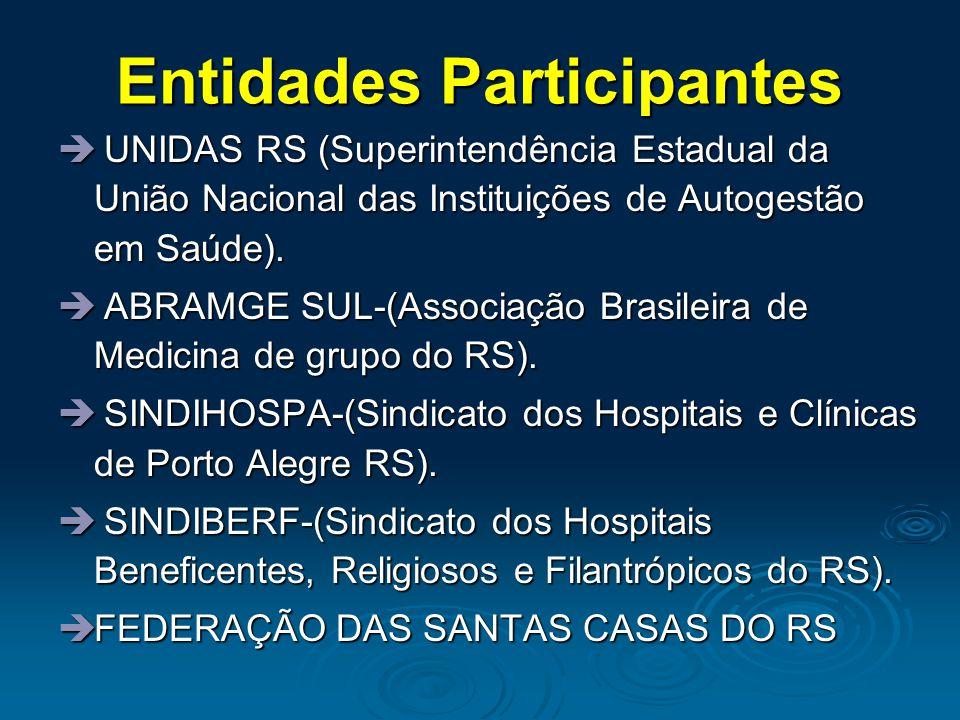 Entidades Participantes UNIDAS RS (Superintendência Estadual da União Nacional das Instituições de Autogestão em Saúde).