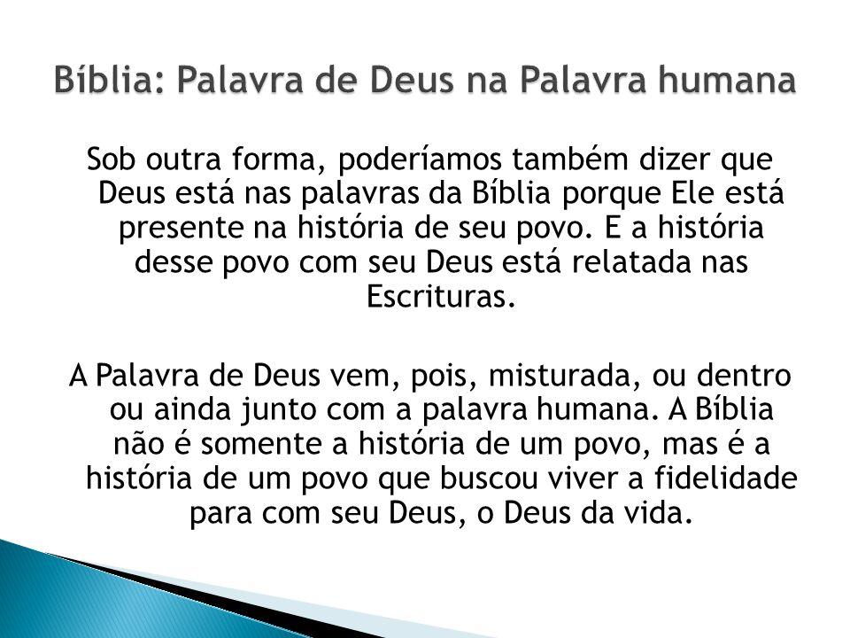 Sob outra forma, poderíamos também dizer que Deus está nas palavras da Bíblia porque Ele está presente na história de seu povo.