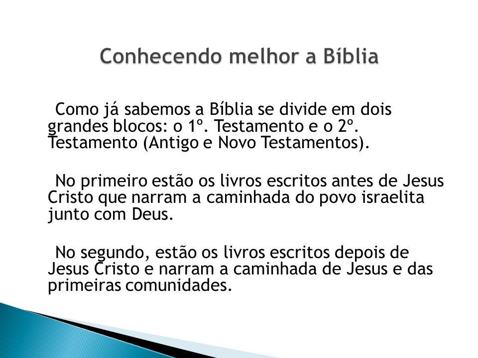 Como já sabemos a Bíblia se divide em dois grandes blocos: o 1º. Testamento e o 2º. Testamento (Antigo e Novo Testamentos). No primeiro estão os livro