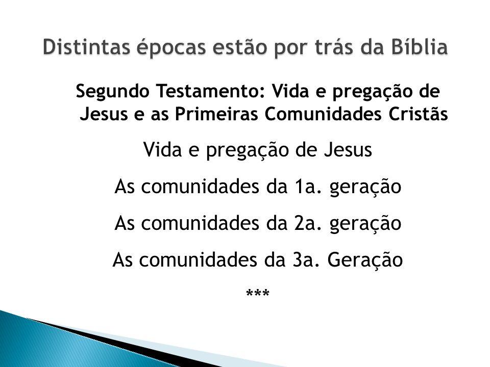 Segundo Testamento: Vida e pregação de Jesus e as Primeiras Comunidades Cristãs Vida e pregação de Jesus As comunidades da 1a. geração As comunidades