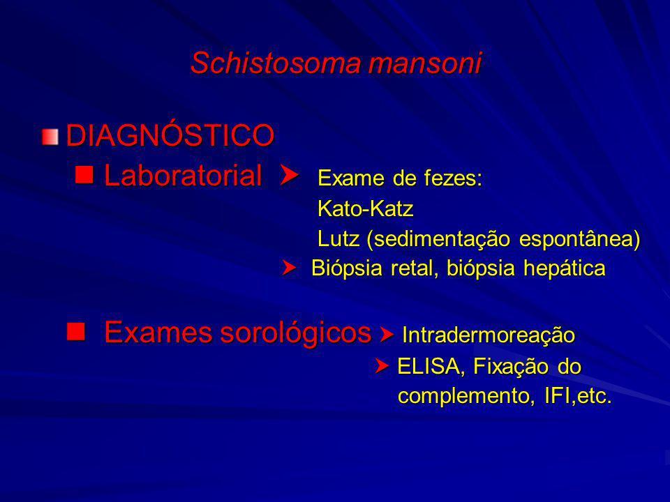 Schistosoma mansoni DIAGNÓSTICO Laboratorial Exame de fezes: Laboratorial Exame de fezes: Kato-Katz Kato-Katz Lutz (sedimentação espontânea) Lutz (sed