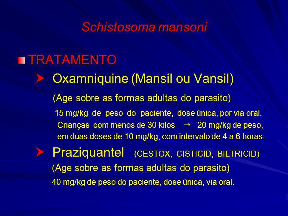 Schistosoma mansoni TRATAMENTO Oxamniquine (Mansil ou Vansil) Oxamniquine (Mansil ou Vansil) (Age sobre as formas adultas do parasito) (Age sobre as f