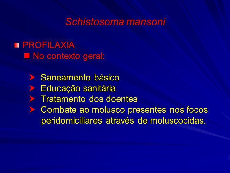 Schistosoma mansoni PROFILAXIA No contexto geral: No contexto geral: Saneamento básico Saneamento básico Educação sanitária Educação sanitária Tratame