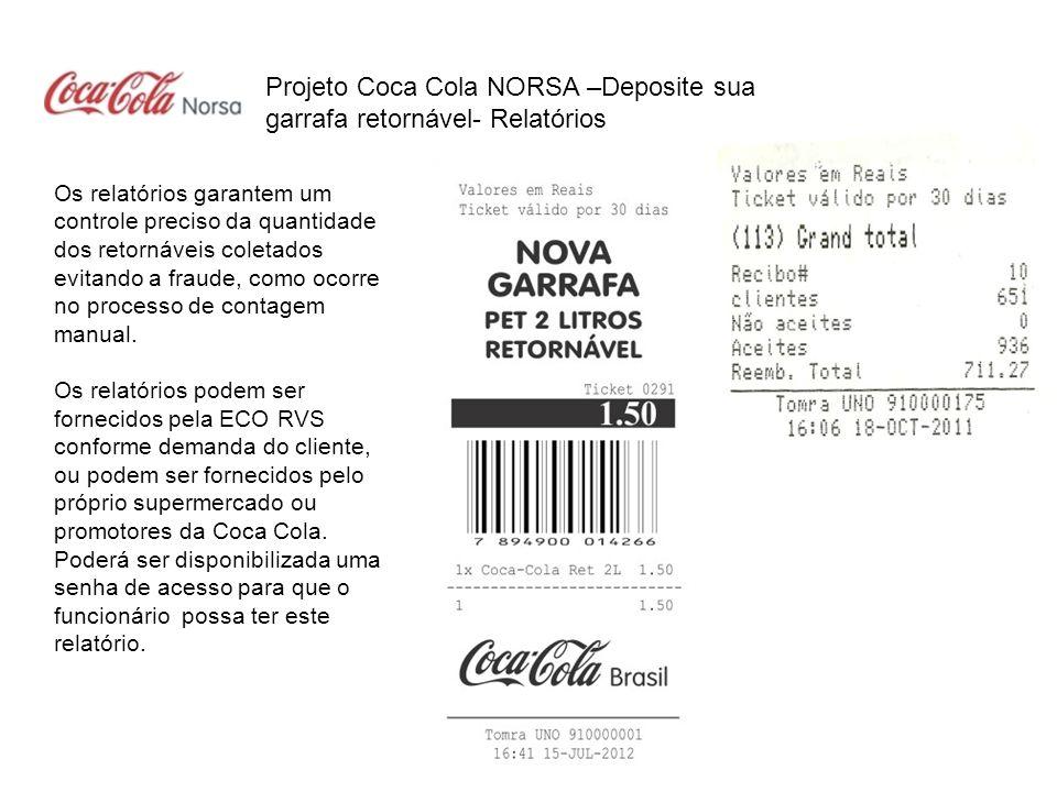 Projeto Coca Cola NORSA –Deposite sua garrafa retornável- Relatórios Os relatórios garantem um controle preciso da quantidade dos retornáveis coletado