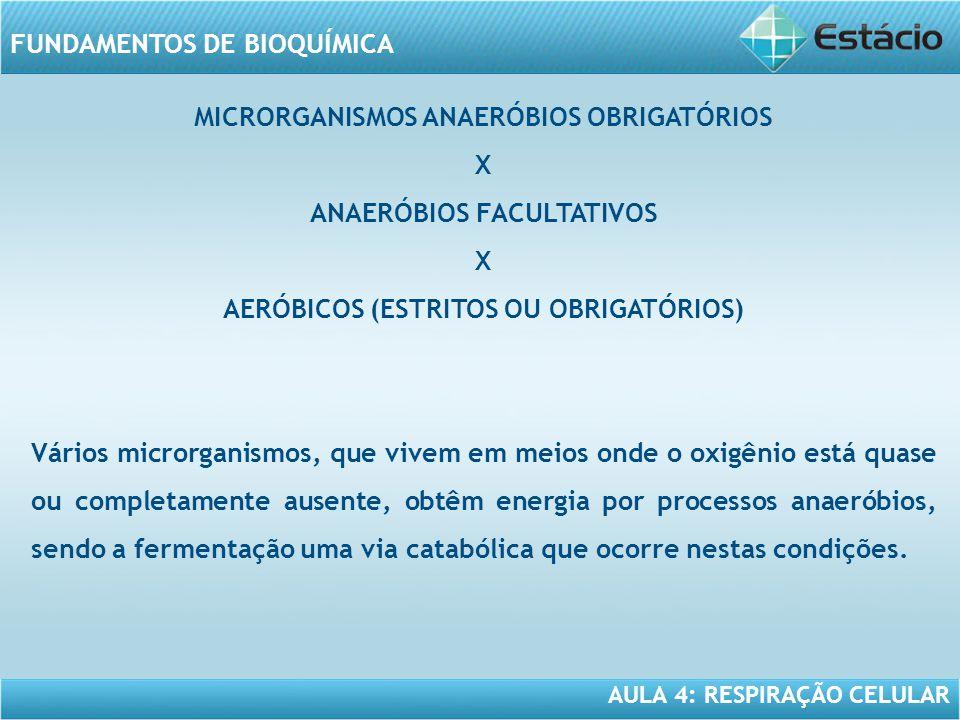 AULA 4: RESPIRAÇÃO CELULAR FUNDAMENTOS DE BIOQUÍMICA MICRORGANISMOS ANAERÓBIOS OBRIGATÓRIOS X ANAERÓBIOS FACULTATIVOS X AERÓBICOS (ESTRITOS OU OBRIGAT