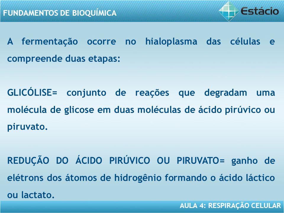 AULA 4: RESPIRAÇÃO CELULAR FUNDAMENTOS DE BIOQUÍMICA A fermentação ocorre no hialoplasma das células e compreende duas etapas: GLICÓLISE= conjunto de
