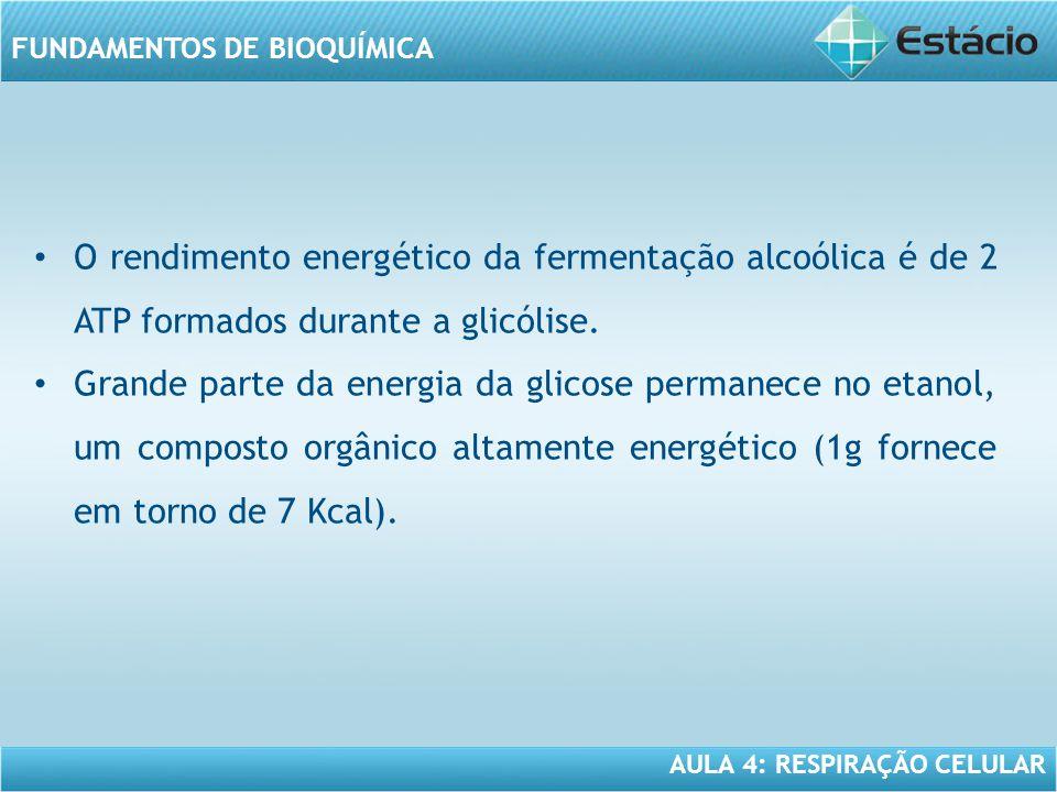 AULA 4: RESPIRAÇÃO CELULAR FUNDAMENTOS DE BIOQUÍMICA O rendimento energético da fermentação alcoólica é de 2 ATP formados durante a glicólise. Grande