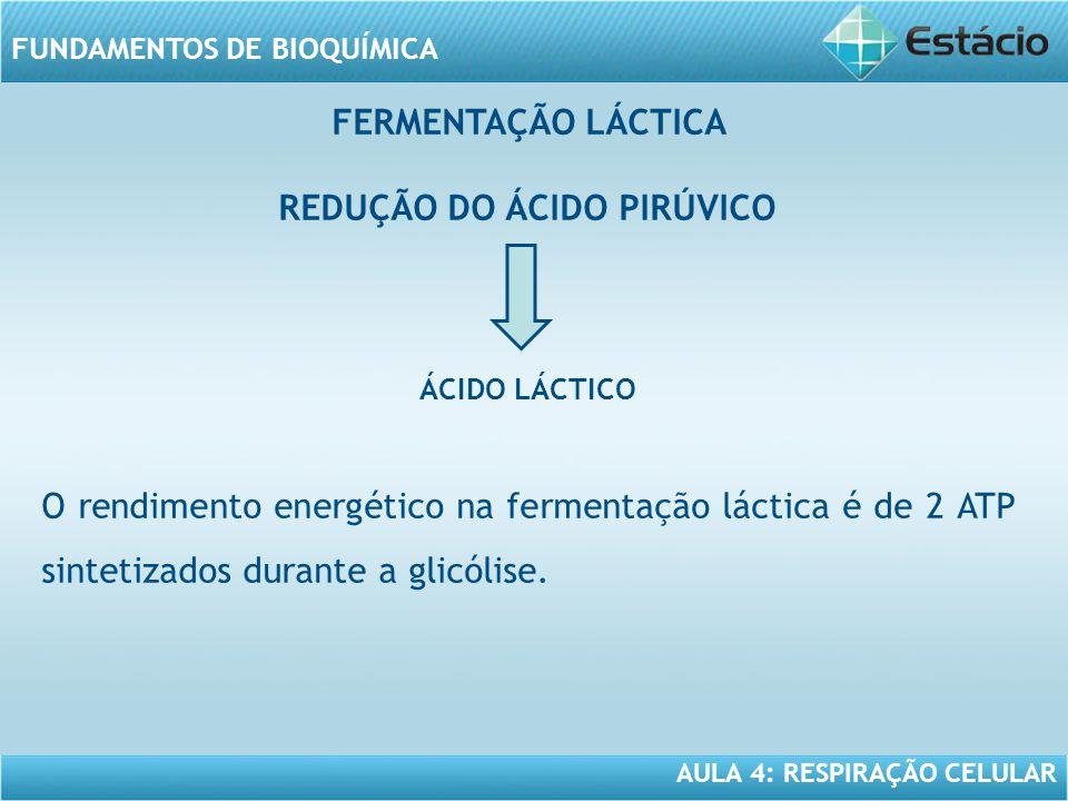 AULA 4: RESPIRAÇÃO CELULAR FUNDAMENTOS DE BIOQUÍMICA FERMENTAÇÃO LÁCTICA REDUÇÃO DO ÁCIDO PIRÚVICO ÁCIDO LÁCTICO O rendimento energético na fermentaçã