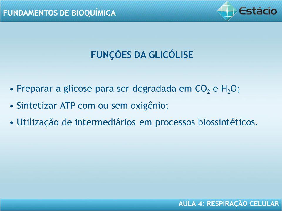 AULA 4: RESPIRAÇÃO CELULAR FUNDAMENTOS DE BIOQUÍMICA FÓRMULA DA GLICÓLISE Glicose + 2 ADP + 2 P i + 2 NAD + ---> 2 moléculas de ácido pirúvico + 2 ATP + 2 NADH + 2 H + + 2 H 2 O Observar: -a fosforilação de 2 moléculas de ADP; -A redução de 2 moléculas de NAD +.