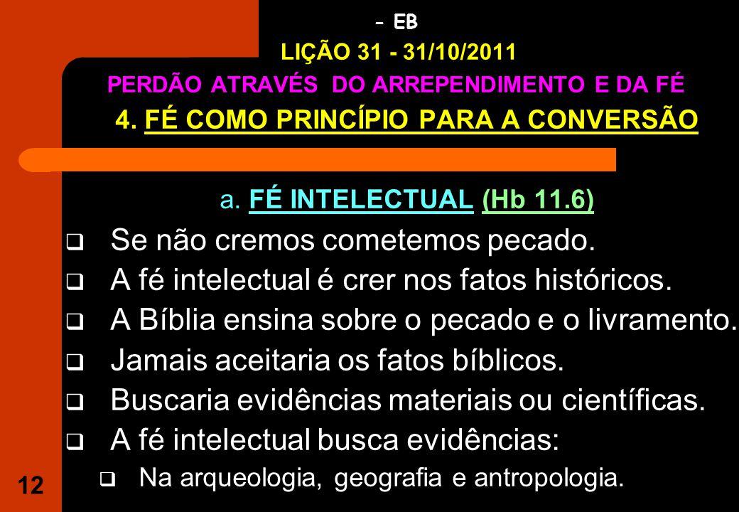 12 IGREJA EVANGÉLICA S.O.S JESUS - EB LIÇÃO 31 - 31/10/2011 PERDÃO ATRAVÉS DO ARREPENDIMENTO E DA FÉ 4.
