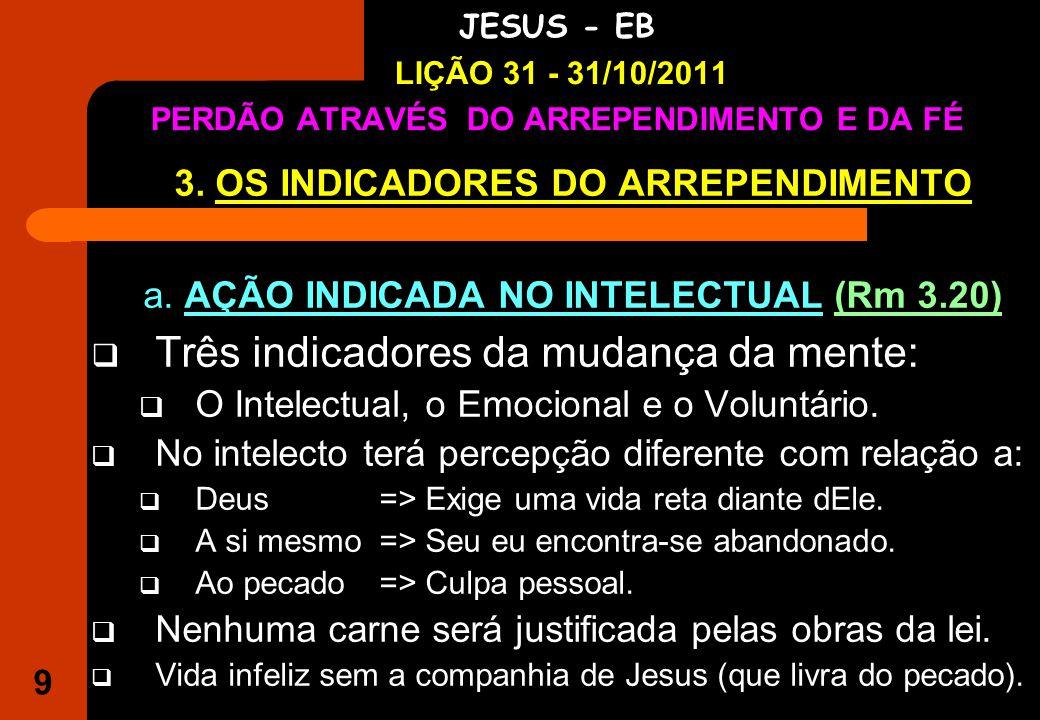 9 IGREJA EVANGÉLICA S.O.S JESUS - EB LIÇÃO 31 - 31/10/2011 PERDÃO ATRAVÉS DO ARREPENDIMENTO E DA FÉ 3.