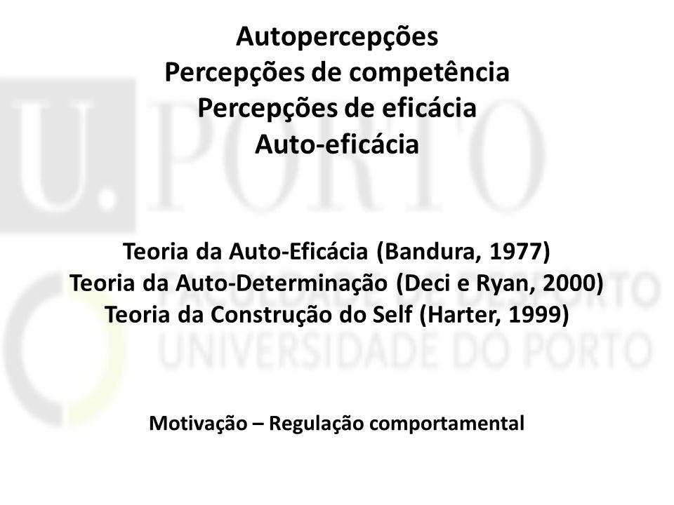 Autopercepções Percepções de competência Percepções de eficácia Auto-eficácia Teoria da Auto-Eficácia (Bandura, 1977) Teoria da Auto-Determinação (Dec