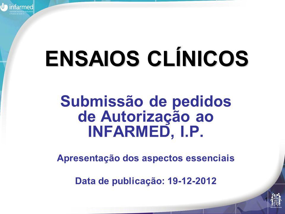 2 Nota Introdutória Objectivo: suporte à submissão de Pedidos de ensaios cínico ao INFARMED, I.P., em termos de formato e conteúdo de dossier; Poderá aceder às versões actualizadas dos documentos indicados através da página do INFARMED e do Volume X da Eudralex; Para informação geral sobre ensaios clínicos: cimi@infarmed.pt Para esclarecimentos adicionais: ensaios.clinicos@infarmed.pt ensaios.clinicos@infarmed.pt