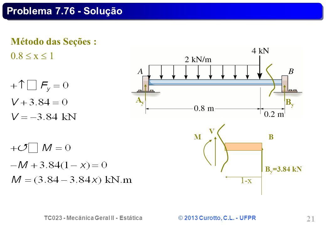 TC023 - Mecânica Geral II - Estática © 2013 Curotto, C.L. - UFPR 21 B y =3.84 kN 1-x B V M AyAy ByBy Método das Seções : 0.8 x 1 Problema 7.76 - Soluç