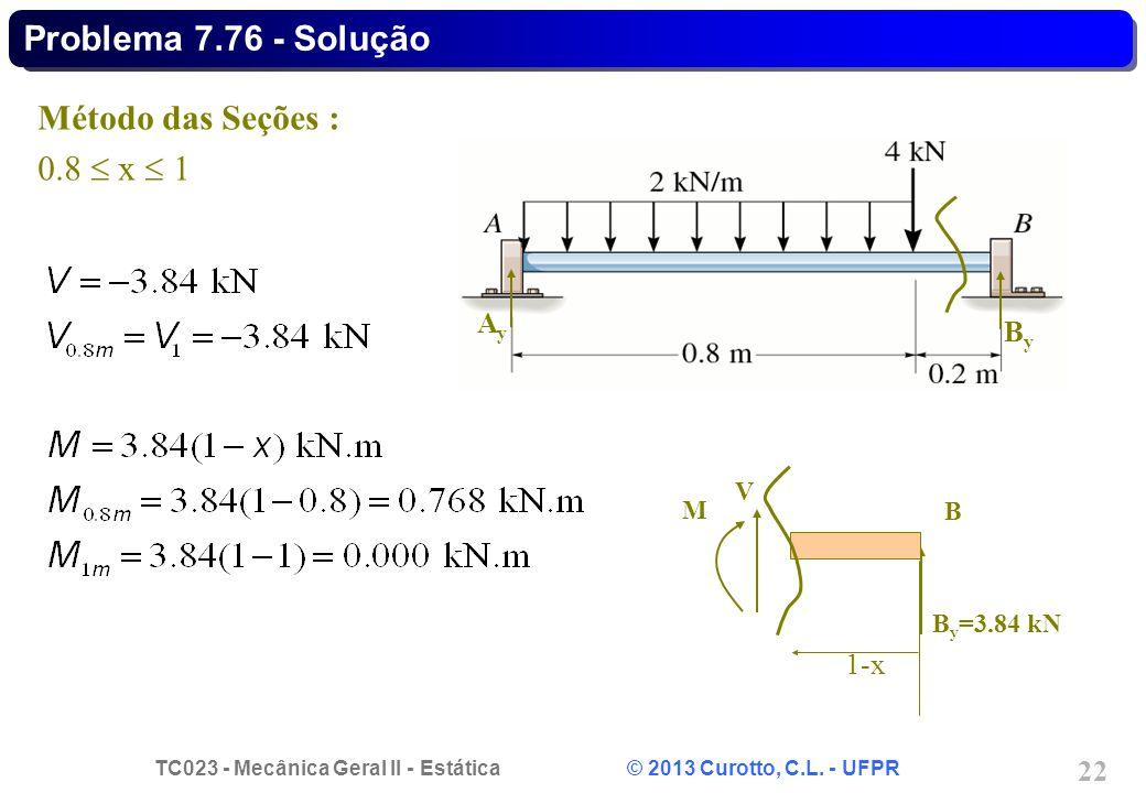 TC023 - Mecânica Geral II - Estática © 2013 Curotto, C.L. - UFPR 22 AyAy ByBy Método das Seções : 0.8 x 1 B y =3.84 kN 1-x B V M Problema 7.76 - Soluç