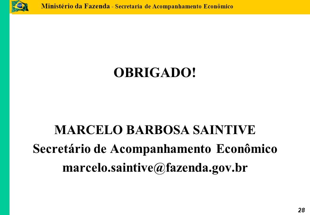 Ministério da Fazenda - Secretaria de Acompanhamento Econômico 28 OBRIGADO! MARCELO BARBOSA SAINTIVE Secretário de Acompanhamento Econômico marcelo.sa