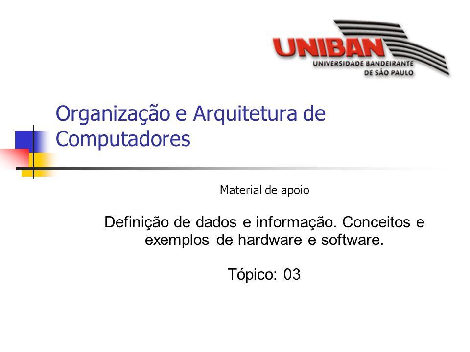 Organização e Arquitetura de Computadores Material de apoio Definição de dados e informação. Conceitos e exemplos de hardware e software. Tópico: 03