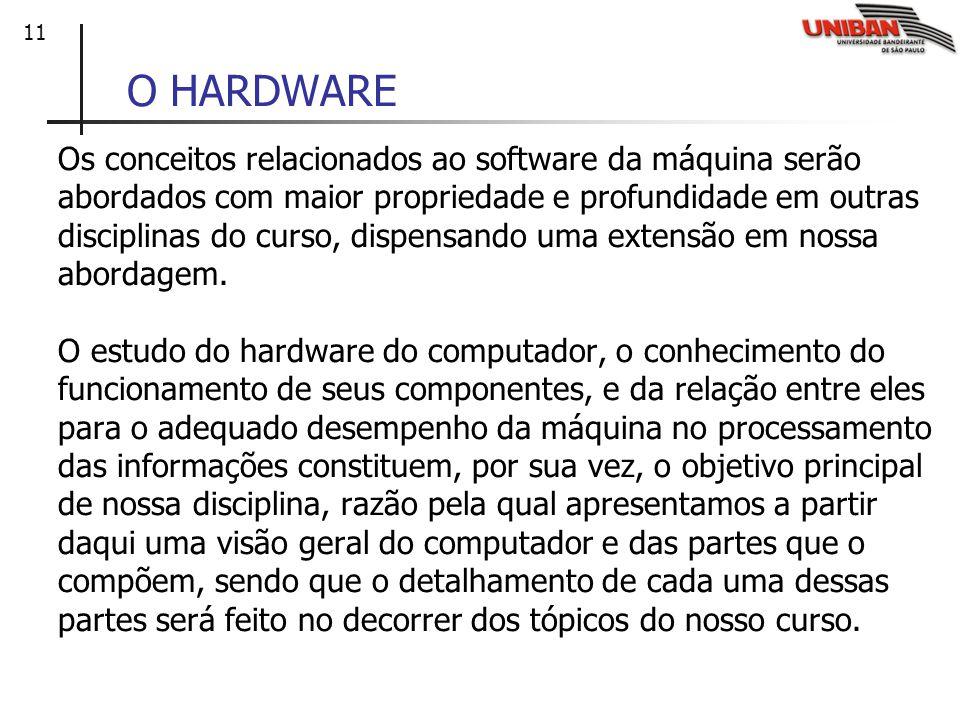 11 O HARDWARE Os conceitos relacionados ao software da máquina serão abordados com maior propriedade e profundidade em outras disciplinas do curso, di