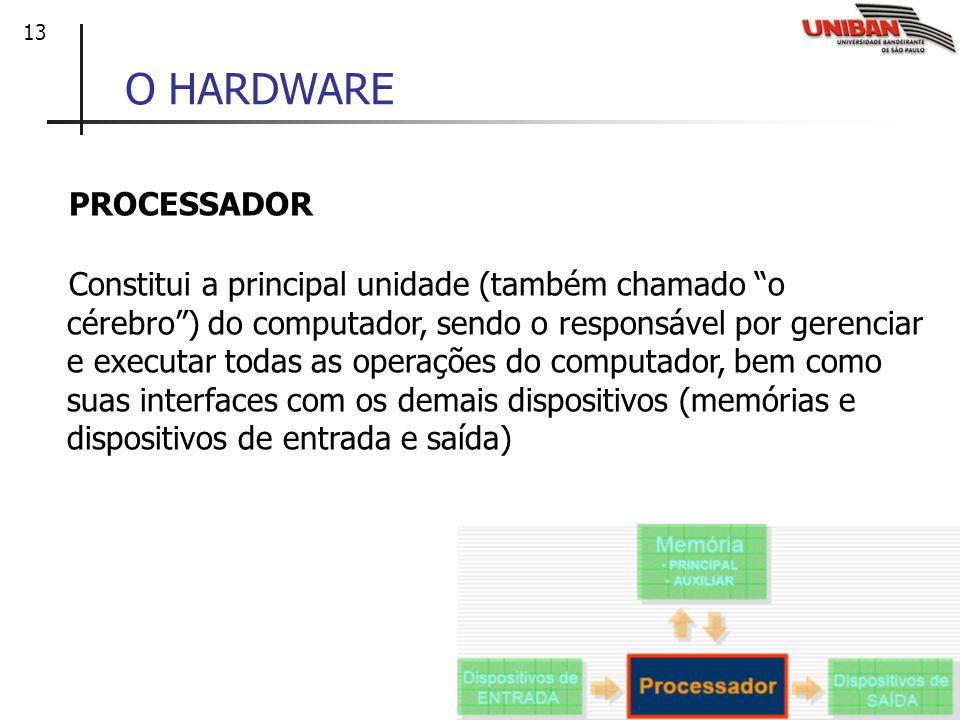 13 O HARDWARE PROCESSADOR Constitui a principal unidade (também chamado o cérebro) do computador, sendo o responsável por gerenciar e executar todas a
