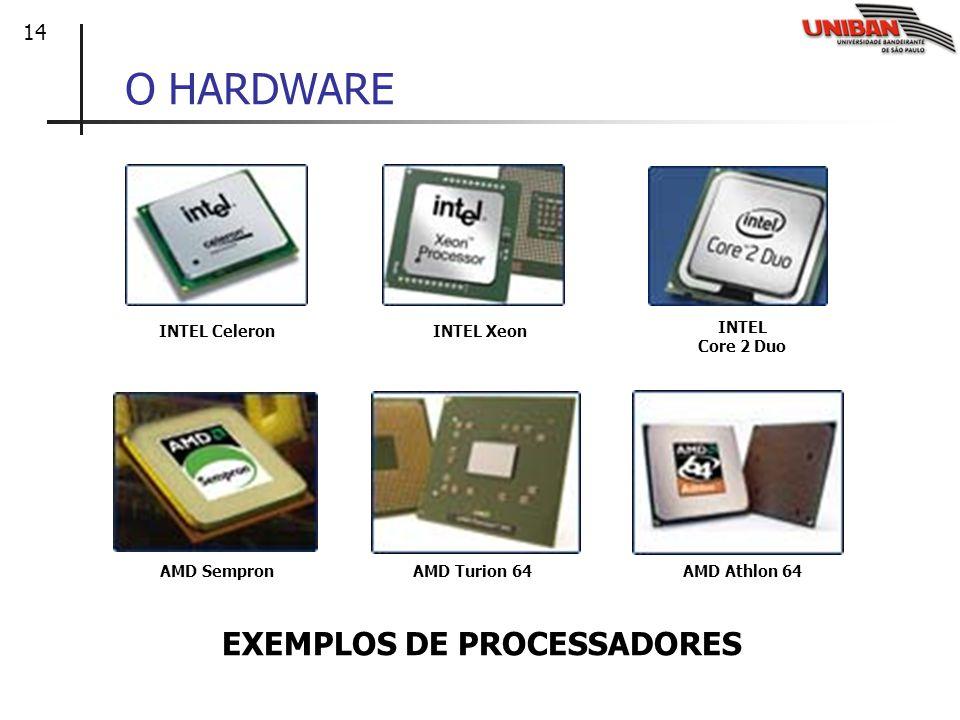 14 O HARDWARE INTEL CeleronINTEL Xeon INTEL Core 2 Duo AMD SempronAMD Turion 64AMD Athlon 64 EXEMPLOS DE PROCESSADORES