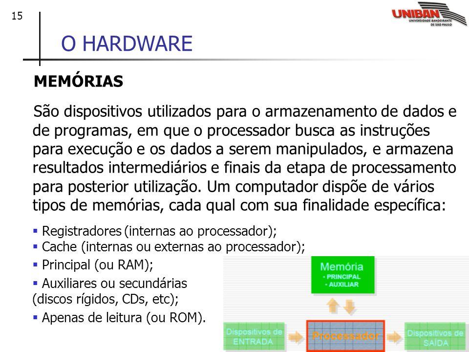 15 O HARDWARE MEMÓRIAS São dispositivos utilizados para o armazenamento de dados e de programas, em que o processador busca as instruções para execuçã