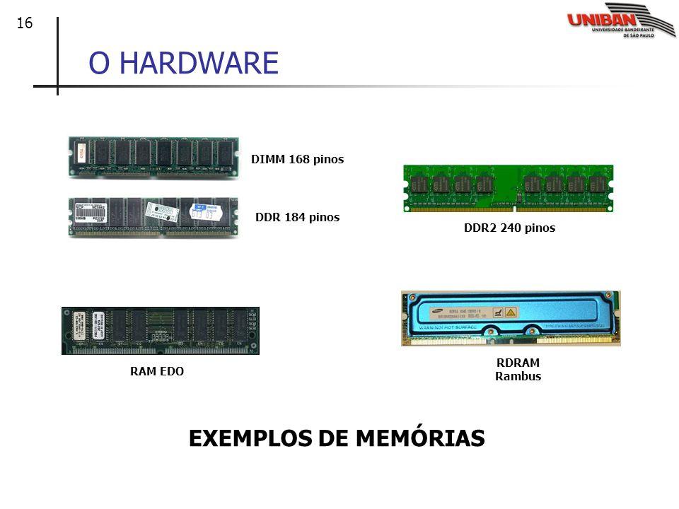 16 O HARDWARE EXEMPLOS DE MEMÓRIAS DIMM 168 pinos DDR 184 pinos DDR2 240 pinos RAM EDO RDRAM Rambus
