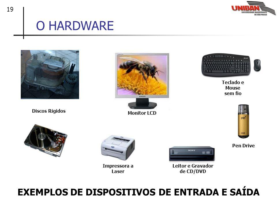 19 O HARDWARE EXEMPLOS DE DISPOSITIVOS DE ENTRADA E SAÍDA Discos Rígidos Monitor LCD Impressora a Laser Teclado e Mouse sem fio Leitor e Gravador de C