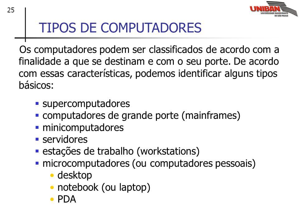 25 TIPOS DE COMPUTADORES Os computadores podem ser classificados de acordo com a finalidade a que se destinam e com o seu porte. De acordo com essas c