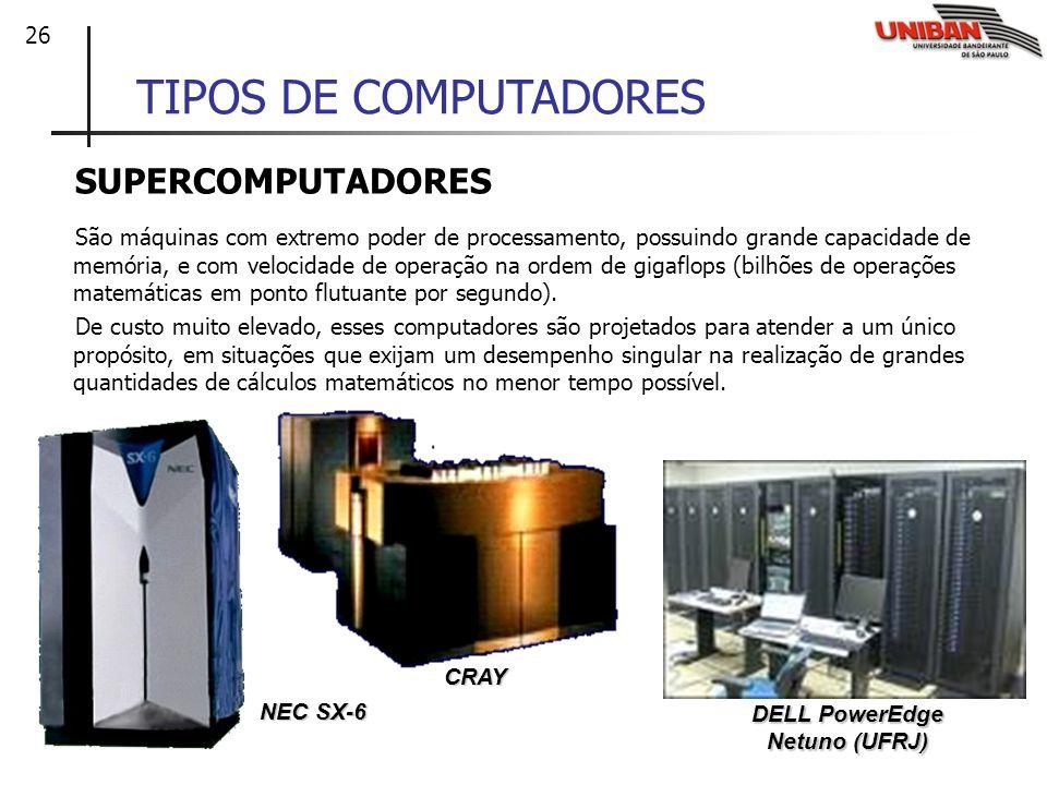 26 TIPOS DE COMPUTADORES SUPERCOMPUTADORES São máquinas com extremo poder de processamento, possuindo grande capacidade de memória, e com velocidade d