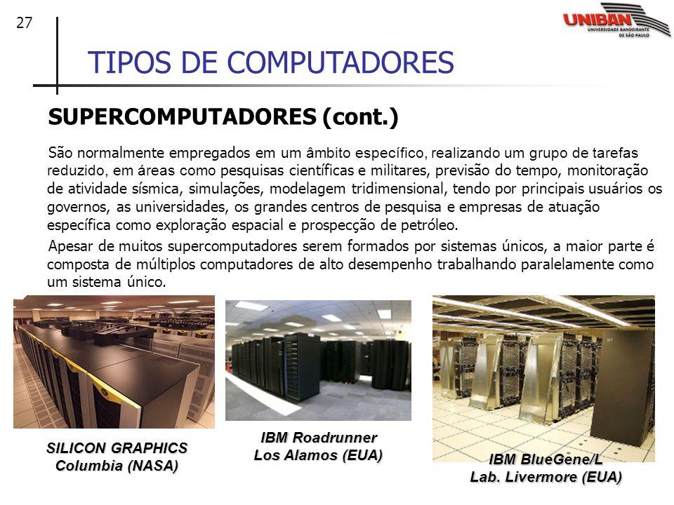 27 TIPOS DE COMPUTADORES SUPERCOMPUTADORES (cont.) São normalmente empregados em um âmbito específico, realizando um grupo de tarefas reduzido, em áre