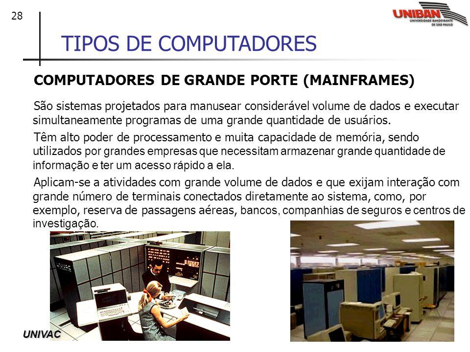 28 TIPOS DE COMPUTADORES COMPUTADORES DE GRANDE PORTE (MAINFRAMES) São sistemas projetados para manusear considerável volume de dados e executar simul