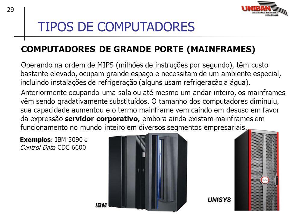 29 TIPOS DE COMPUTADORES COMPUTADORES DE GRANDE PORTE (MAINFRAMES) Operando na ordem de MIPS (milhões de instruções por segundo), têm custo bastante e