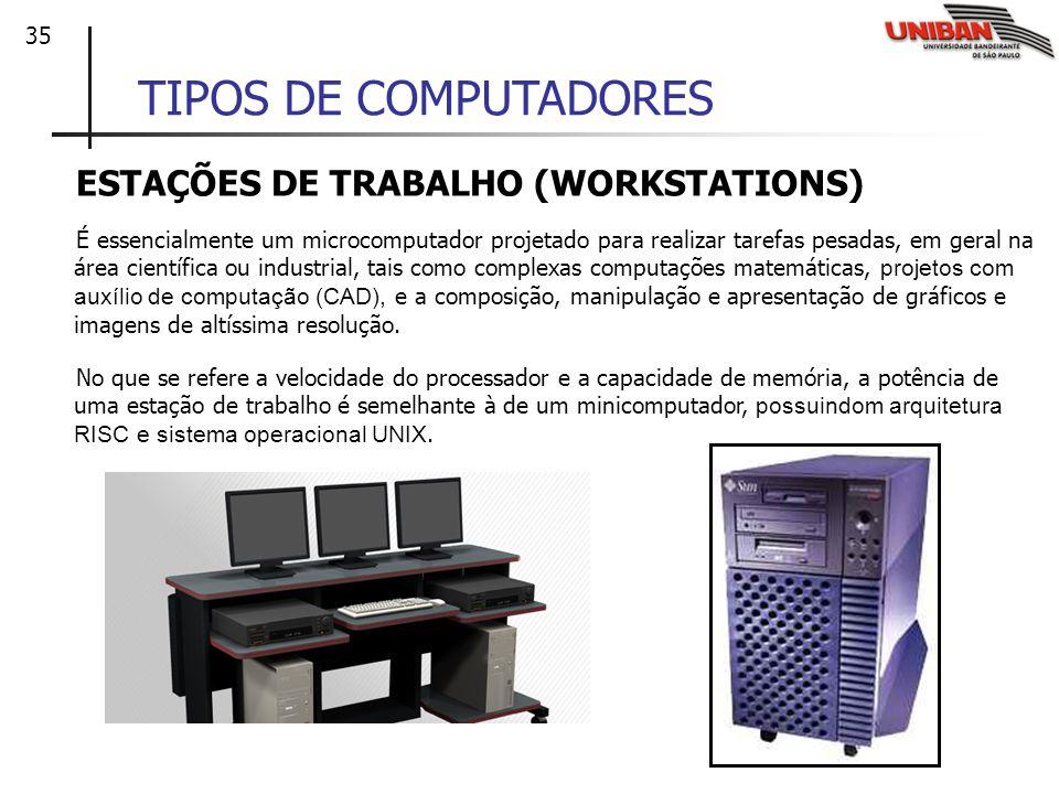 35 TIPOS DE COMPUTADORES ESTAÇÕES DE TRABALHO (WORKSTATIONS) É essencialmente um microcomputador projetado para realizar tarefas pesadas, em geral na