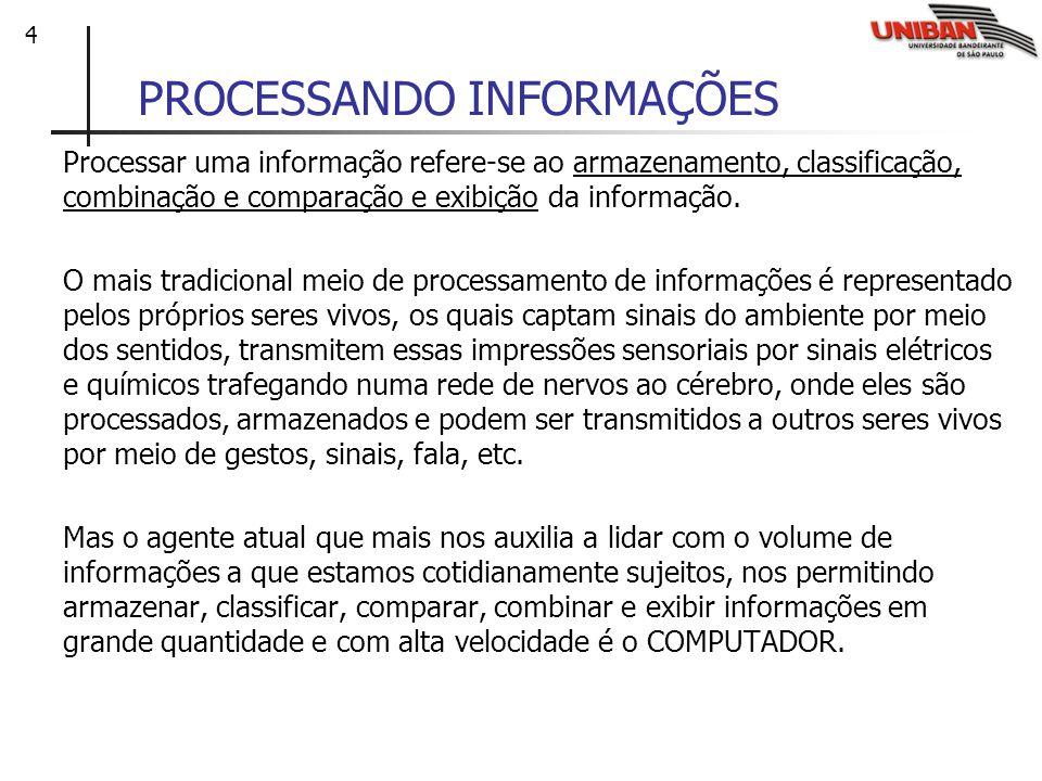 4 PROCESSANDO INFORMAÇÕES Processar uma informação refere-se ao armazenamento, classificação, combinação e comparação e exibição da informação. O mais