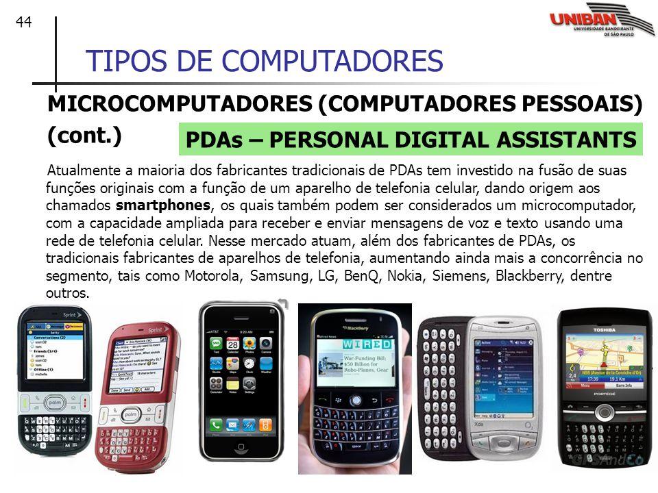 44 TIPOS DE COMPUTADORES MICROCOMPUTADORES (COMPUTADORES PESSOAIS) (cont.) Atualmente a maioria dos fabricantes tradicionais de PDAs tem investido na