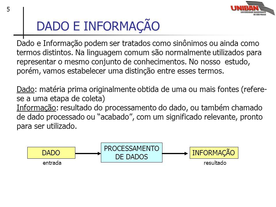 5 DADO E INFORMAÇÃO Dado e Informação podem ser tratados como sinônimos ou ainda como termos distintos. Na linguagem comum são normalmente utilizados
