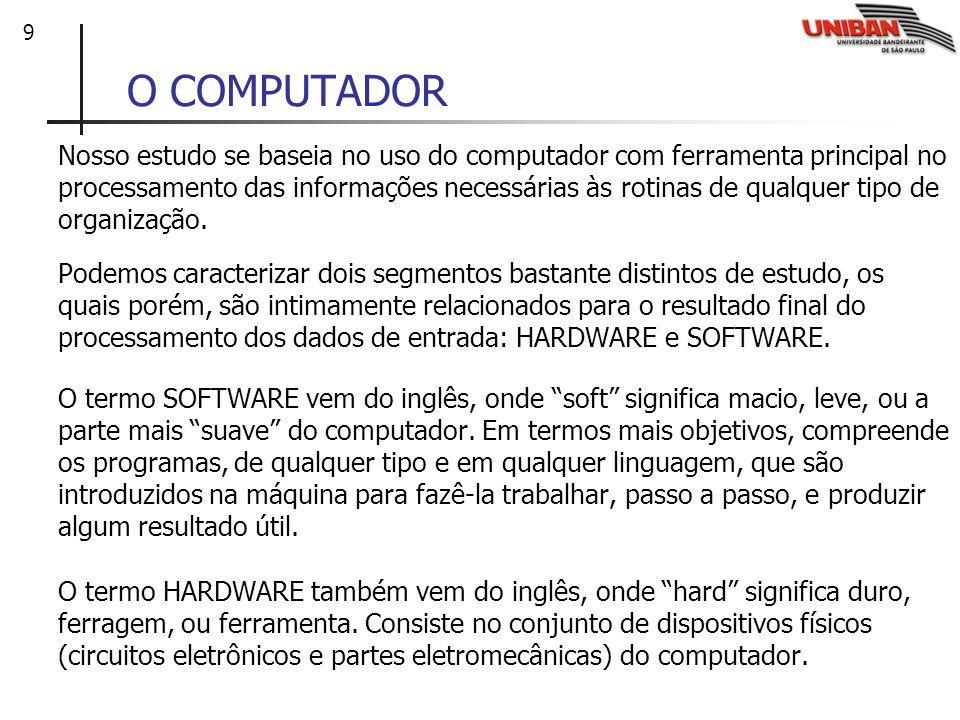 9 O COMPUTADOR Nosso estudo se baseia no uso do computador com ferramenta principal no processamento das informações necessárias às rotinas de qualque