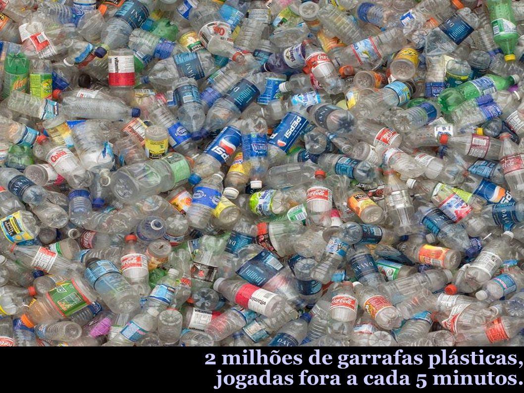 2 milhões de garrafas plásticas, jogadas fora a cada 5 minutos.