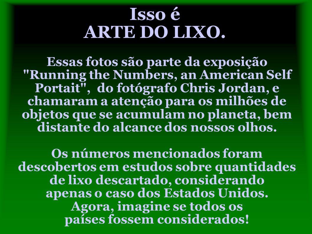 Isso é ARTE DO LIXO. Essas fotos são parte da exposição