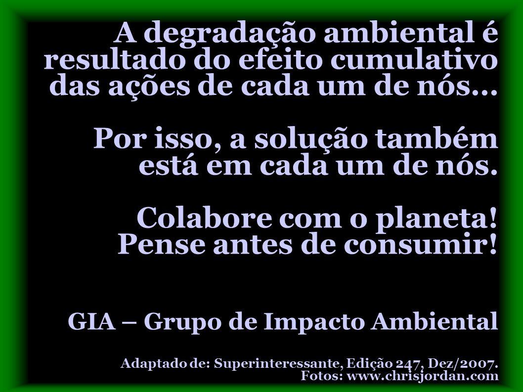 A degradação ambiental é resultado do efeito cumulativo das ações de cada um de nós... Por isso, a solução também está em cada um de nós. Colabore com